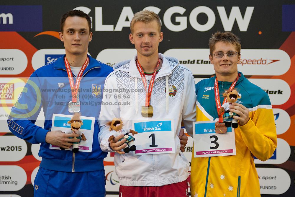 RUSSO Sean, BOKI Ihar, DENYSENKO Laroslav AUS, BLR, UKR at 2015 IPC Swimming World Championships -  Men's 100m Backstroke S13
