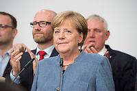 24 SEP 2017, BERLIN/GERMANY:<br /> Angela Merkel, CDU, Bundeskanzlerin, haelt eine Rede, Wahlparty in der Wahlnacht, Bundestagswahl 2017, Konrad-Adenauer-Haus, CDU Bundesgeschaeftsstelle<br /> IMAGE: 20170924-01-028<br /> KEYWORDS: Election Party, Election Night