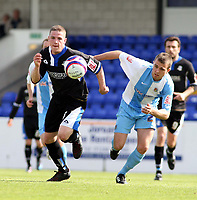 Photo: Mark Stephenson/Richard Lane Photography. <br /> Chester City v  Macclesfield Town. Coca-Cola Football League Two. 03/05/2008. <br /> Macclesfield's John Ronney tries to go past Chester's Kevin Roberts