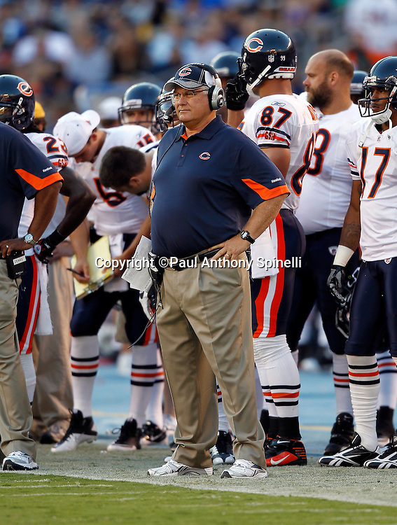 Chicago Bears Offensive Coordinator Mike Martz watches from the sidelines during a NFL week 1 preseason football game against the San Diego Chargers, Saturday, August 14, 2010 in San Diego, California. The Chargers won the game 25-10. (©Paul Anthony Spinelli)