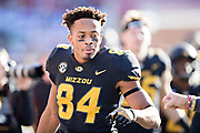 FAYETTEVILLE, AR - NOVEMBER 24:  Emanuel Hall #84 of the Missouri Tigers on the sidelines during a game against the Arkansas Razorbacks at Razorback Stadium on November 24, 2017 in Fayetteville, Arkansas.  The Tigers defeated the Razorbacks 48-45.  (Photo by Wesley Hitt/Getty Images) *** Local Caption *** Emanuel Hall