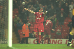 Liverpool, England - Wednesday, November 27th, 1996: Liverpool's Robbie Fowler celebrates scoring his second goal during the 4-2 victory over Arsenal during the 4th Round of the League Cup at Anfield. (Pic by David Rawcliffe/Propaganda)