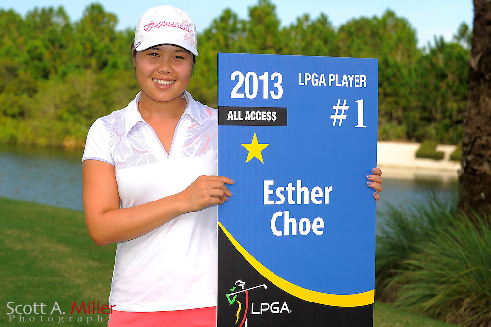 Esther Choe with her card following the final round of the Daytona Beach Invitational  at LPGA International on Sep 30, 2012 in Daytona Beach, Florida...©2012 Scott A. Miller