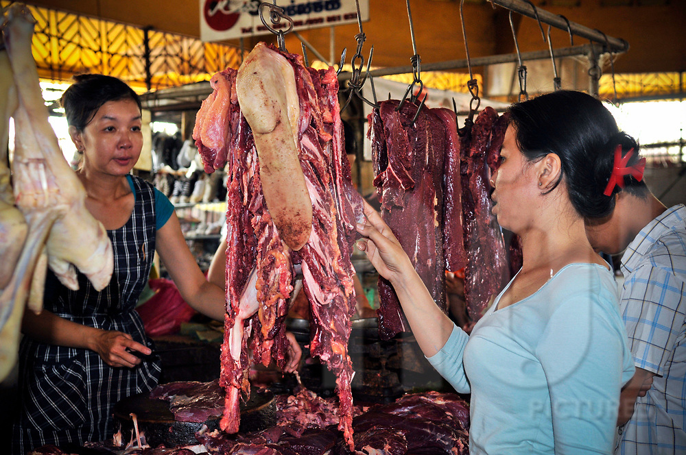 Butcher stall in Central Market, Phnom Penh, Cambodia, Southeast Asia