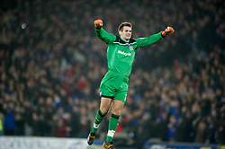 CARDIFF, WALES - Tuesday, January 24, 2012: Cardiff City's goalkeeper Tom Heaton celebrates his side's first goal against Crystal Palace during the Football League Cup Semi-Final 2nd Leg at the Cardiff City Stadium. (Pic by David Rawcliffe/Propaganda)