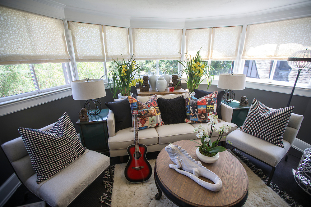 The Glam Rock Teen Sun Room - by The Art of Room Design - after renovations inside the Pasadena Showcase House of Design on Wednesday, April 12, 2017 in Pasadena, Calif. The 1916 English estate home was updated for modern living by interior and landscape designers. © 2017 Patrick T. Fallon