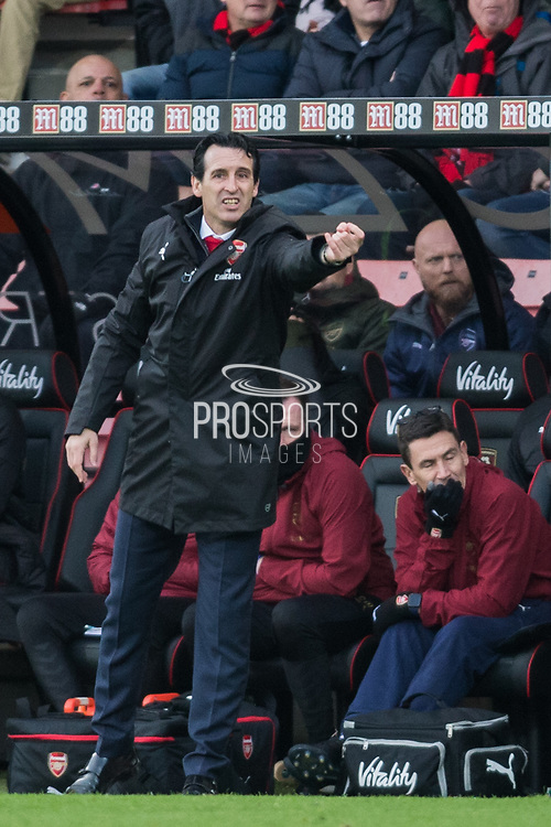 Unai Emery, Head Coach of Arsenal FC giving direction during the Premier League match between Bournemouth and Arsenal at the Vitality Stadium, Bournemouth, England on 25 November 2018.
