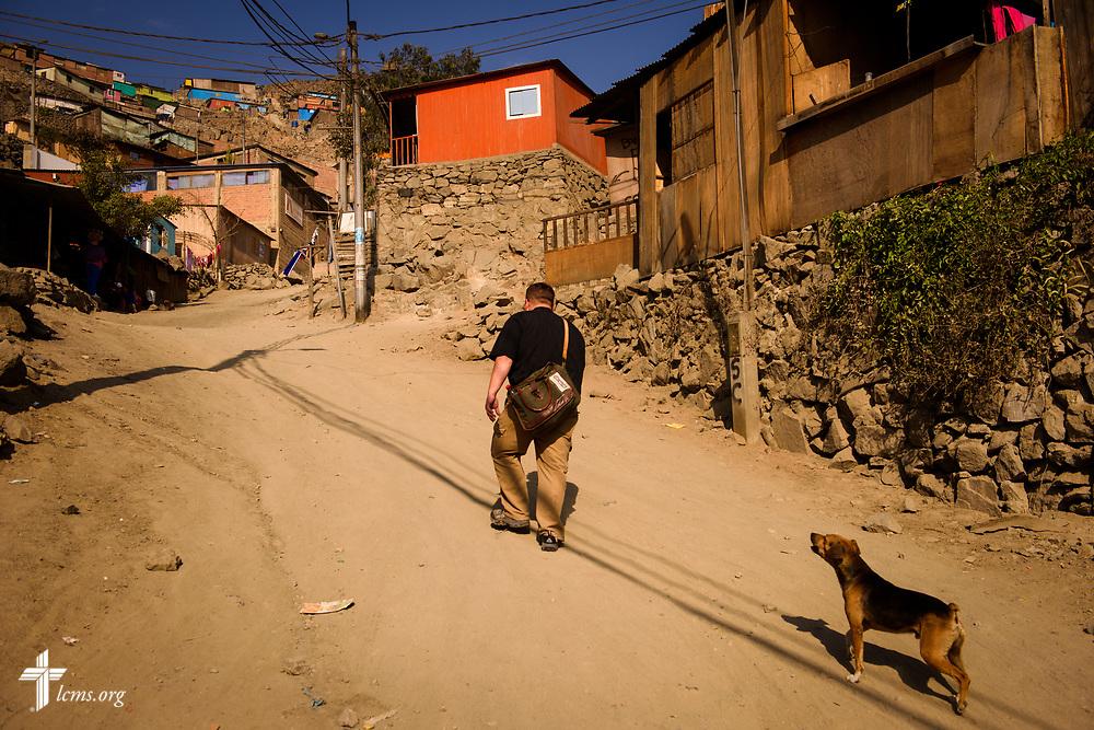 The Rev. Eddie Hosch, LCMS career missionary to Peru, walks up the hill toward Castillo Fuerte in San Juan de Lurigancho on Tuesday Nov. 7 2017, in Peru.  LCMS Communications/Erik M. Lunsford