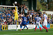 Shot from AFC Wimbledon striker Jake Jervis (10) just going over during the EFL Sky Bet League 1 match between AFC Wimbledon and Portsmouth at the Cherry Red Records Stadium, Kingston, England on 13 October 2018.