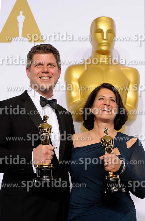 Production designers Adam Stockhausen (L) and Anna Pinnock poses after winning the Best Production Design award for &quot;The Grand Budapest Hotel&quot; during the 87th Academy Awards at the Dolby Theater in Los Angeles, the United States, on Feb. 22, 2015. EXPA Pictures &copy; 2015, PhotoCredit: EXPA/ Photoshot/ Yang Lei<br /> <br /> *****ATTENTION - for AUT, SLO, CRO, SRB, BIH, MAZ only*****