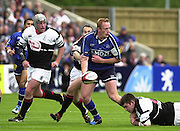 24/05/2002.Sport - Rugby Union - Parker Pen Shield Final..Sale's Peter Anglesea, look's for support..   [Mandatory Credit, Peter Spurier/ Intersport Images].