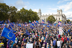 © Licensed to London News Pictures. 19/10/2019. London, UK. Thousands of anti-Brexit protesters fill Parliament Square. Prime Minister Boris Johnson has delayed the vote on his proposed Brexit deal after MPs voted to pass the Letwin amendment. Photo credit: Rob Pinney/LNP