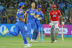 May 8, 2018 - Jaipur, Rajasthan, India - Rajasthan Royals team players celebrate the wicket of Ravichandran Ashwin during the IPL T20 match against Kings XI Punjab at Sawai Mansingh Stadium in Jaipur,Rajasthan,India on 8th May,2018.(Photo By Vishal Bhatnagar/NurPhoto) (Credit Image: © Vishal Bhatnagar/NurPhoto via ZUMA Press)
