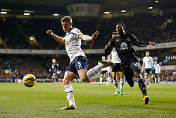Jan Vertonghen of Tottenham Hotspur clears from Romelu Lukaku of Everton - Photo mandatory by-line: Rogan Thomson/JMP - 07966 386802 - 30/11/2014 - SPORT - FOOTBALL - London, England - White Hart Lane - Tottenham Hotspur v Everton - Barclays Premier League.