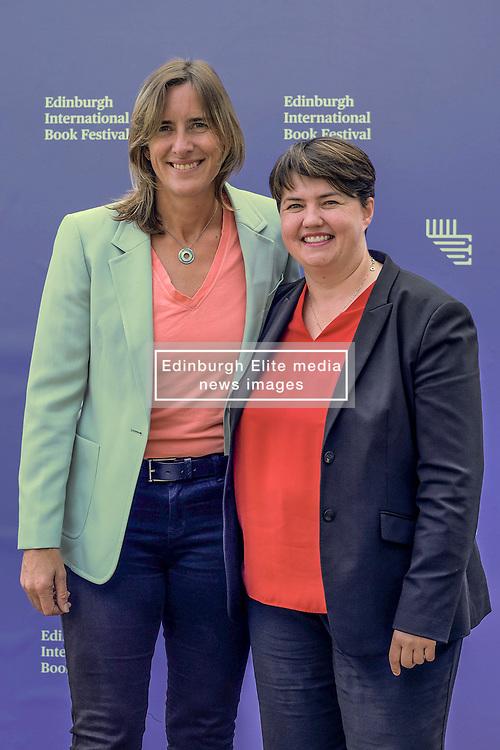 Edinburgh Book Festival, Tuesday, 13th August 2019<br /> <br /> Pictured: Scottish Conservative leader Ruth Davidson and Olympic rower Katherine Grainger<br /> <br /> Alex Todd   Edinburgh Elite media