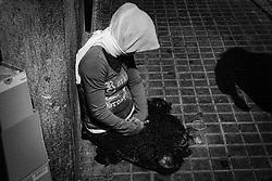 Panhandler at La Rambla, Barcelona.