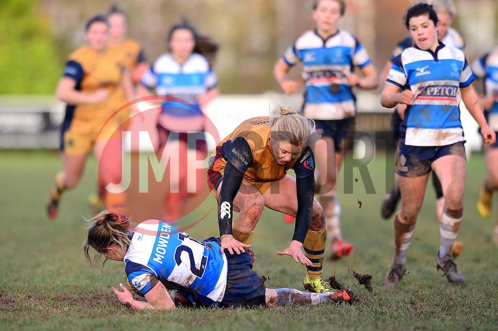 Claire Molloy of Bristol Ladies closes down the ball - Mandatory by-line: Dougie Allward/JMP - 11/12/2016 - RUGBY - Cleve RFC - Bristol, England - Bristol Ladies v Darlington Mowden Park Ladies - RFU Women's Premiership