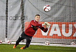 NEWPORT, WALES - Wednesday, November 4, 2015: Wales' goalkeeper Adam Przybeck during a training session ahead of the Under-16's Victory Shield International match at Dragon Park. (Pic by David Rawcliffe/Propaganda)