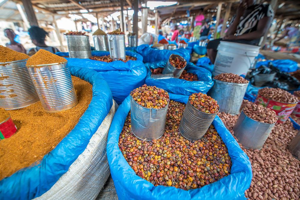 Produce fill the market in Ganta, Liberia