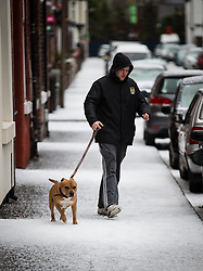 © Licensed to London News Pictures . 09/11/2013 . Manchester , UK . A man walks his dog along a street covered in freshly fallen hail stones in Salford . A freak hail storm in Manchester covers the streets with large hailstones as loud rolling thunder is heard . Photo credit : Joel Goodman/LNP