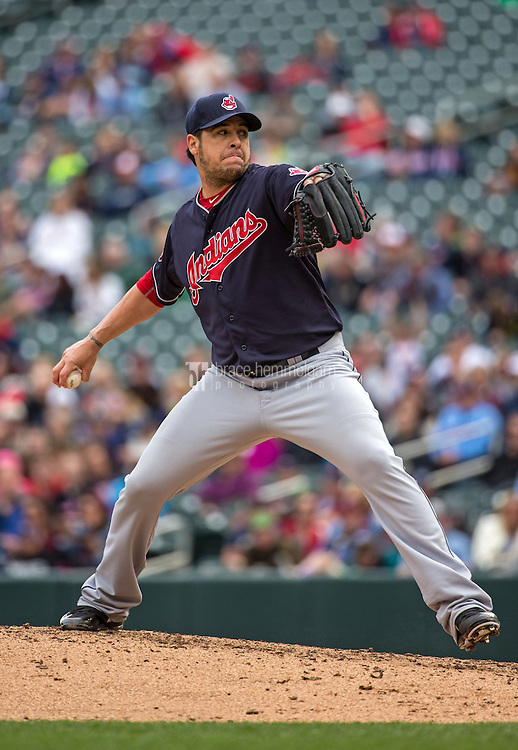 MINNEAPOLIS, MN- APRIL 19: Anthony Swarzak #51 of the Cleveland Indians pitches against the Minnesota Twins on April 19, 2015 at Target Field in Minneapolis, Minnesota. The Twins defeated the Indians 7-2. (Photo by Brace Hemmelgarn) *** Local Caption *** Anthony Swarzak