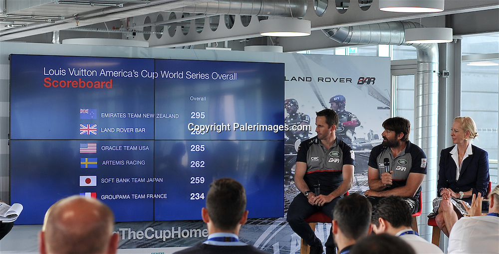Jono Macbeth (NZL) of Land Rover Bar Team talks to the media during the Media Day Louis Vuitton America's Cup World Series Portsmouth on July 21. 2016 in Portsmouth, England. Copyright photo: Michael Paler/ www.photosport.nz