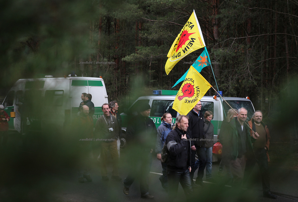 300 people demostrate in front of a proposed final nuclear waste storage in Gorleben.