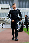 Newcastle United forward Dwight Gayle (#9) arrives at St James's Parj ahead of the EFL Sky Bet Championship match between Newcastle United and Barnsley at St. James's Park, Newcastle, England on 7 May 2017. Photo by Craig Doyle.