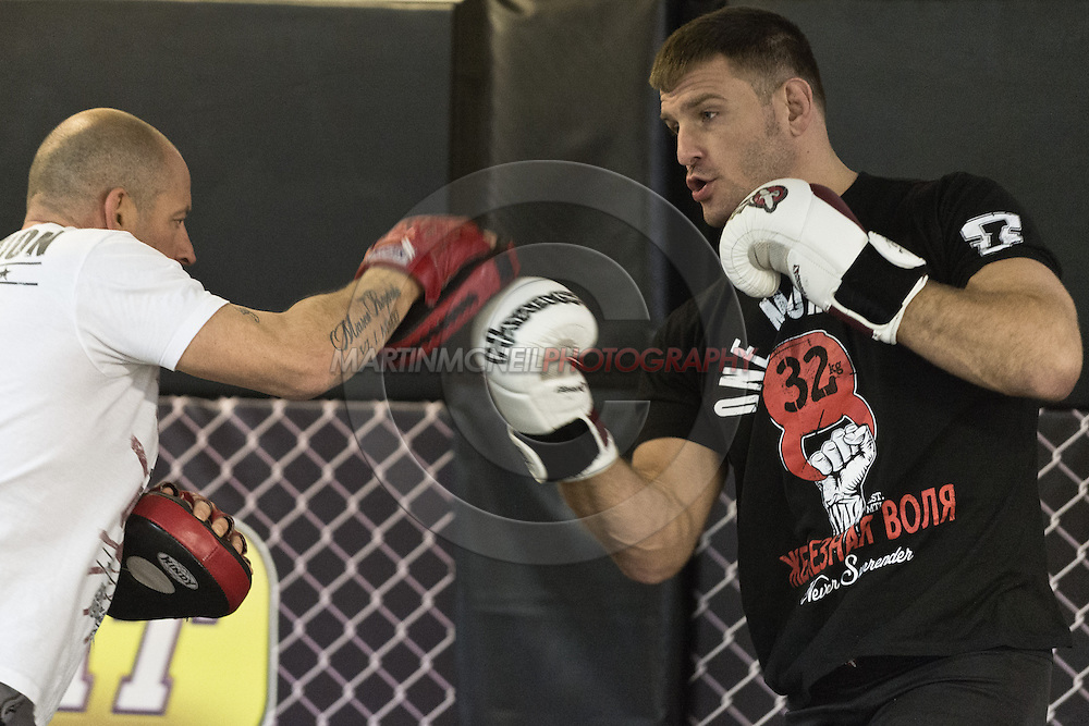 """NOTTINGHAM, ENGLAND, SEPTEMBER 26, 2012: Stipe Miocic attends the open work-out sessions ahead of """"UFC on Fuel TV 5: Struve vs. Miocic"""" inside Gym Combat in Nottingham, United Kingdom on Wednesday, September 26, 2012 © Martin McNeil"""