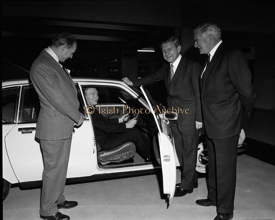 Citroen Launch New Car Range..1973..28.03.1973..03.28.1973..28th March 1973..At a press reception in Leopardstown,Dublin, Citroen launched the 1973 range of new cars which will be available soon..Pictured at the launch of the new range of Citroen cars,An Taoiseach,Mr Liam Cosgrave,takes his place behind the wheel . Also pictured are the French Ambassador, Mr Emmanuel D'Harcourt, Mr M Ravenal,Chairman,Citroen France and Mr C G Ashenhurst,Chairman and Managing Director,Citroen Importers (Ireland)Ltd..
