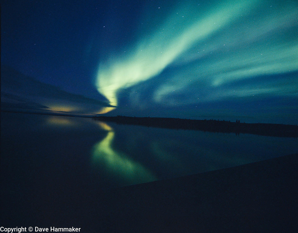 """Northern Lights Reflection""  Aurora borealis reflection on Whitefish Lake, Northwest Territories, Canada"