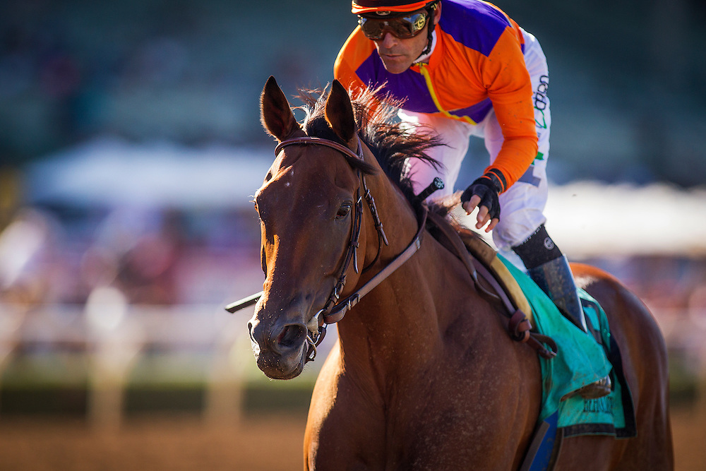 September 26 2015: Beholder with Gary Stevens up wins the Zenyatta Stakes at Santa Anita Park, Arcadia CA. Alex Evers/ESW/CSM