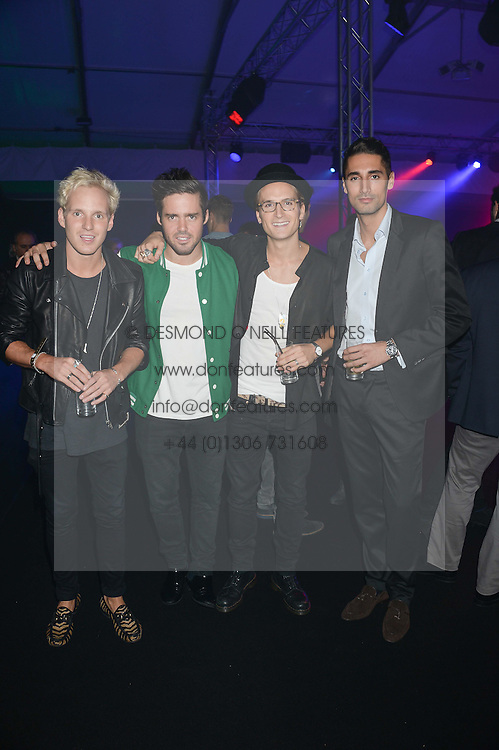 Left to right, JAMIE LAING, SPENCER MATTHEWS, OLLIE PROUDLOCK and HUGO TAYLOR at a party to celebrate the 1st birthday of nightclub 2&8 at Mortons held in Berkeley Square, London on 3rd October 2013.