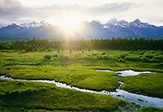 1200-1004 ~ Copyright: George H. H. Huey ~ Grand Tetons with beaver pond along Snake River. Grand Teton National Park, Wyoming.