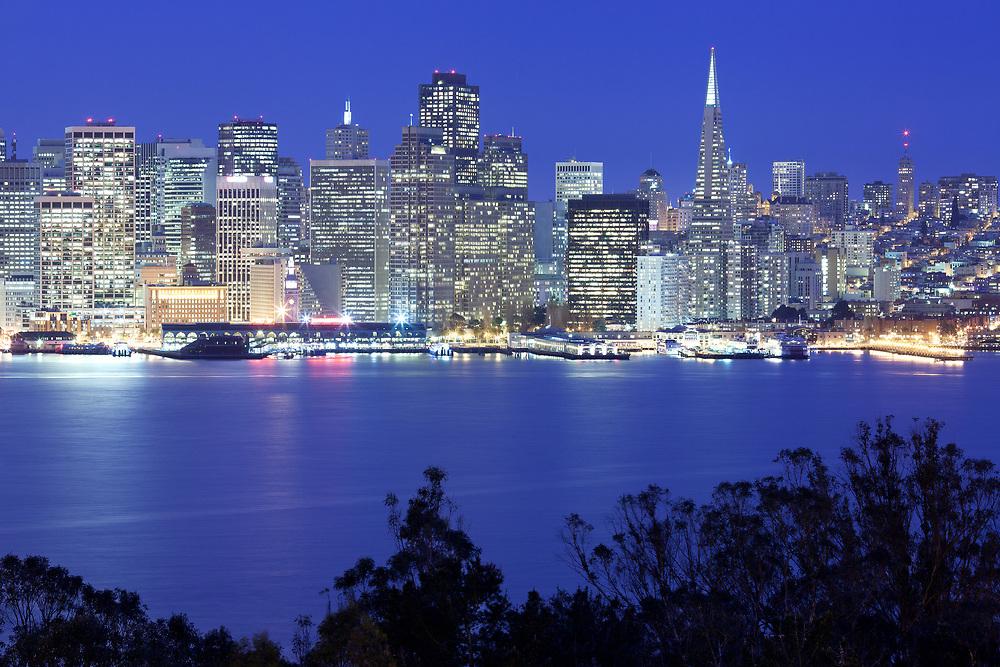 Panoramic view of San Francisco at night, California, USA