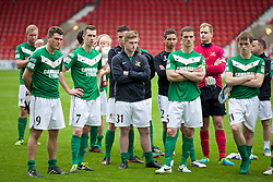 WREXHAM, WALES - Saturday, May 3, 2014: Aberystwyth Town players look dejected after losing 3-2 to The New Saints during the Welsh Cup Final at the Racecourse Ground. Mark Jones, Chris Venables, Jamie Butler, captain Stuart Jones, Cledan Davies. (Pic by David Rawcliffe/Propaganda)