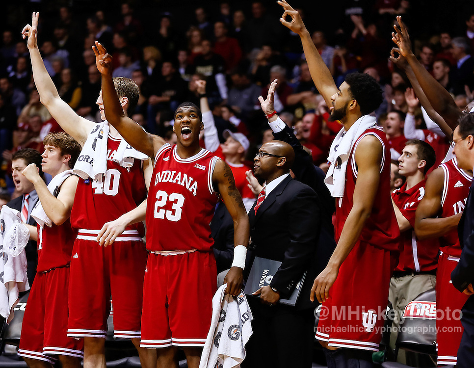 WEST LAFAYETTE, IN - JANUARY 30: Members of the Indiana Hoosiers celebrate in the closing minutes of the game against the Purdue Boilermakers at Mackey Arena on January 30, 2013 in West Lafayette, Indiana. Indiana defeated Purdue 97-60. (Photo by Michael Hickey/Getty Images)