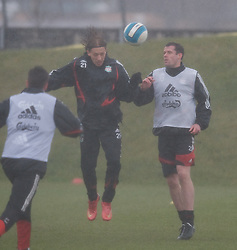 LIVERPOOL, ENGLAND - Friday, March 28, 2008: Liverpool's Lucas Levia and Jamie Carragher training at Melwood ahead of the Merseyside Derby match against Everton. (Photo by David Rawcliffe/Propaganda)