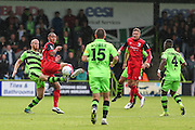 Forest Green Rovers Charlie Clough(5) beats Barrows Ryan Yates(22) to the ball during the Vanarama National League match between Forest Green Rovers and Barrow at the New Lawn, Forest Green, United Kingdom on 1 October 2016. Photo by Shane Healey.