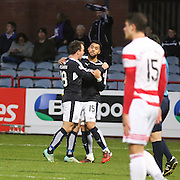 Dundee&rsquo;s Kane Hemmings is congratulated by Paul McGowan after scoring the opening goal of his hat-trick - Dundee v Hamilton, Ladbrokes Premiership at Dens Park<br /> <br />  - &copy; David Young - www.davidyoungphoto.co.uk - email: davidyoungphoto@gmail.com