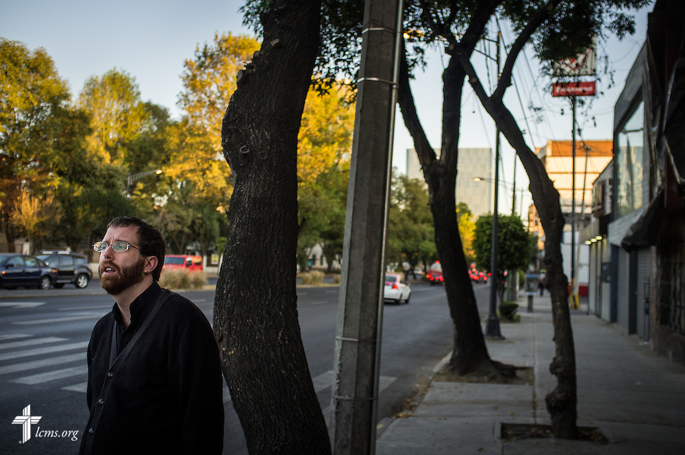 The Rev. Andrew Schlund, LCMS missionary to Mexico, waits for a taxi near his home on Friday, Jan. 13, 2017, in Mexico City. LCMS Communications/Erik M. Lunsford