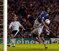 Photo: Jed Wee.<br /> Glasgow Rangers v Artmedia. UEFA Champions League.<br /> 19/10/2005.<br /> <br /> Rangers' Sotirios Kyrgiakos directs a header goalwards.