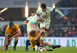 Courtney Lawes of England is tackled - Mandatory by-line: Robbie Stephenson/JMP - 18/11/2017 - RUGBY - Twickenham Stadium - London, England - England v Australia - Old Mutual Wealth Series