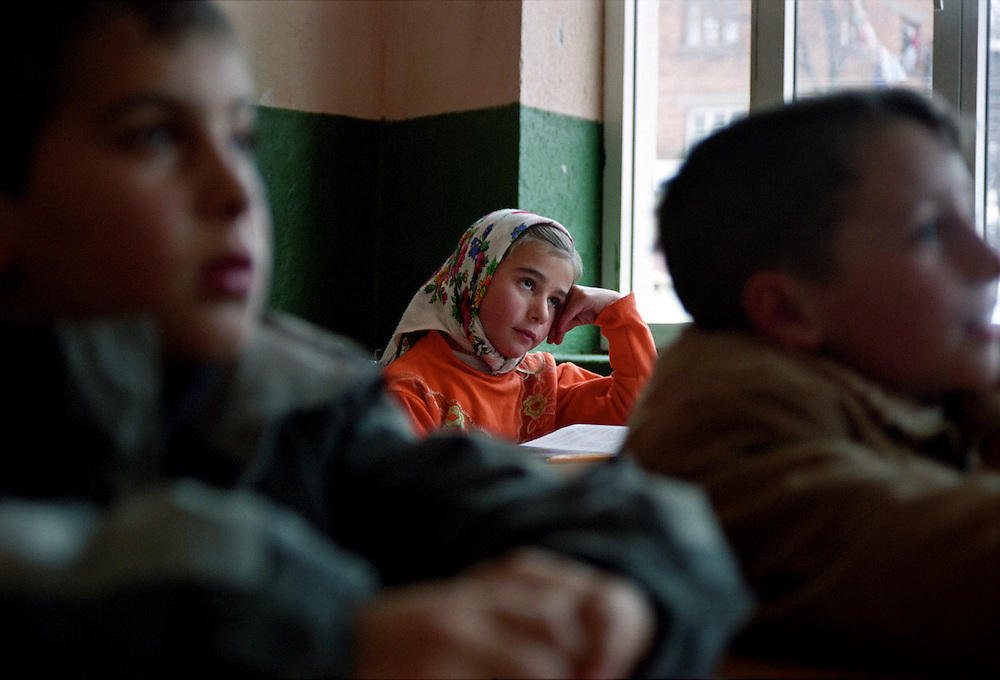 A girl listens during classes in the local school.
