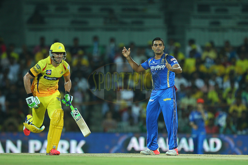 Rajat Bhatia of the Rajasthan Royals reacts after a delivery  during match 47 of the Pepsi IPL 2015 (Indian Premier League) between The Chennai Superkings and The Rajasthan Royals held at the M. A. Chidambaram Stadium, Chennai Stadium in Chennai, India on the 10th May 2015.<br /> <br /> Photo by:  Ron Gaunt / SPORTZPICS / IPL