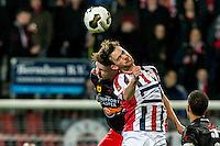 ROTTERDAM - Excelsior - Willem II , Voetbal , Eredivisie , Seizoen 2016/2017 , Stadion Woudestein , 25-02-2017 , Excelsior speler Jordy de Wijs (l) in kop duel met Willem II speler Erik Falkenburg (r)