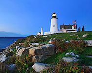 Pemaquid Point Lighthouse In Pre Dawn Light, Bristol, Maine, USA