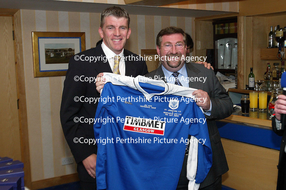 Jim Weir Testimonial...11.04.05<br />Jim Weir presents Jim Alexander of Timbmet with a signed shirt.<br /><br />Picture by Graeme Hart.<br />Copyright Perthshire Picture Agency<br />Tel: 01738 623350  Mobile: 07990 594431