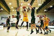 Vermont's Dre Wills (24) leaps for a lay up during the men's basketball game between the Lyndon State Hornets and the Vermont Catamounts at Patrick Gym on Saturday afternoon November 19, 2016 in Burlington (BRIAN JENKINS/for the FREE PRESS)