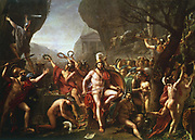 Leonidas at Thermopylae'  (1814).   Leonidas (dc480 BC) king of Sparta from 491 BC. Held pass at Thermopylae for 3 days with 300 Spartans and 700 Thespians against the Persian army. Leonidas and his followers all died.  Jacques Louis David (1748-1825) French painter.